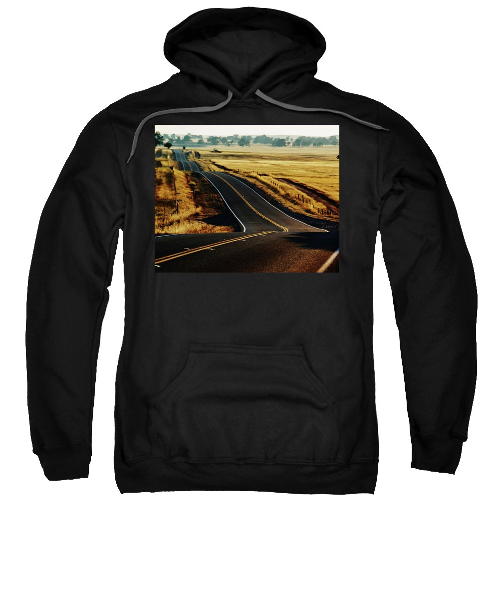 California Sweatshirt featuring the photograph A Country Road In The Central Valley by Ron Koeberer