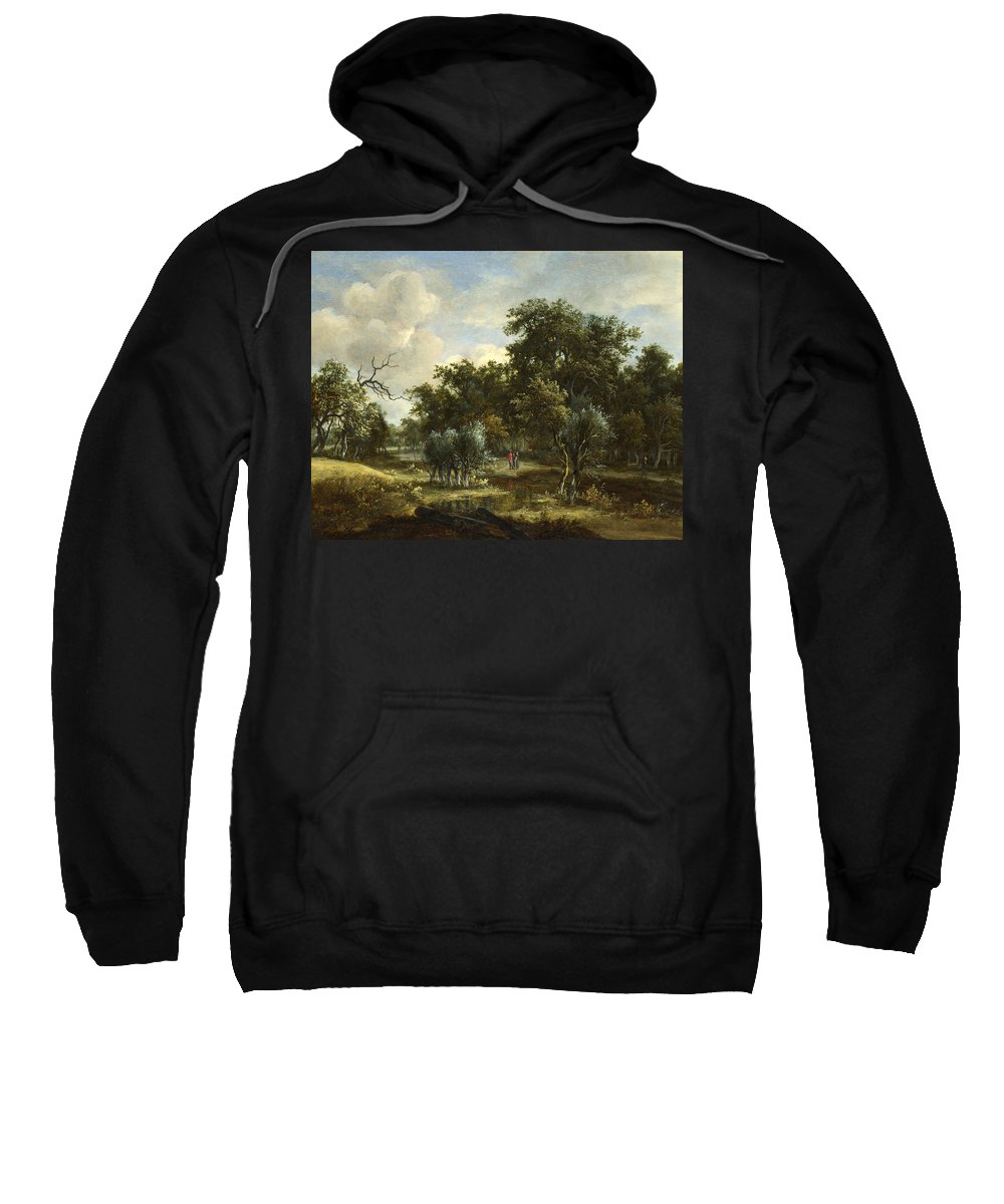 Meindert Hobbema Sweatshirt featuring the painting A Stream By A Wood by Meindert Hobbema