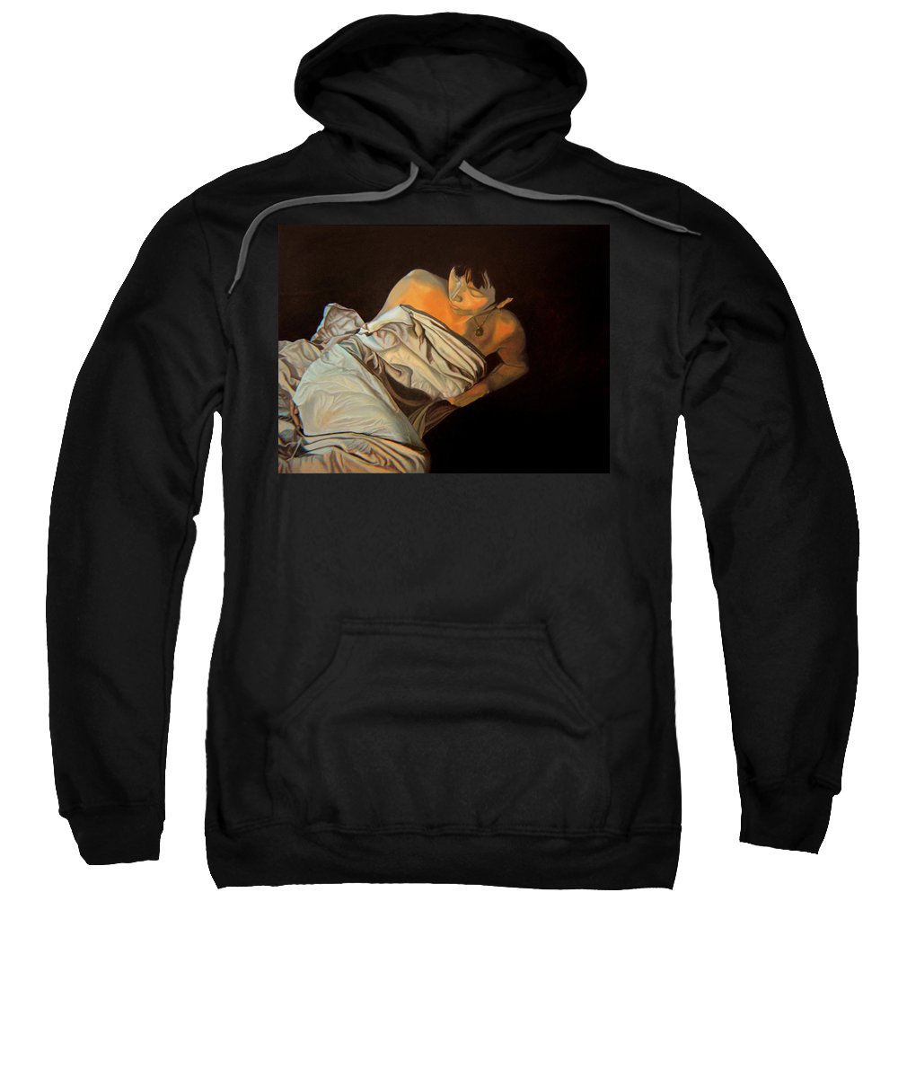 Semi-nude Sweatshirt featuring the painting 1 Am by Thu Nguyen