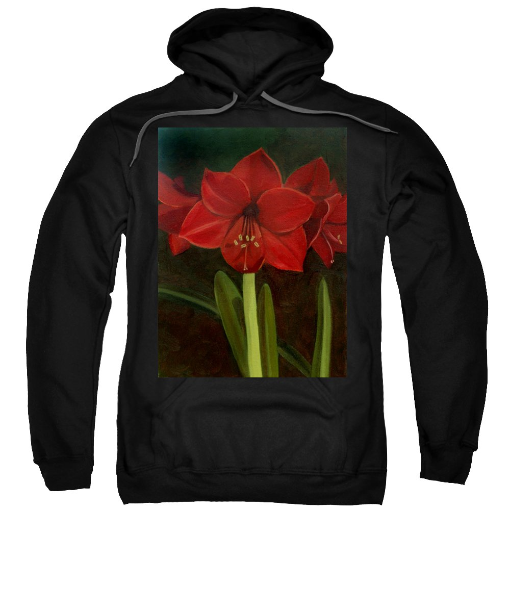 Amaryllis Sweatshirt featuring the painting Amaryllis by Nancy Griswold