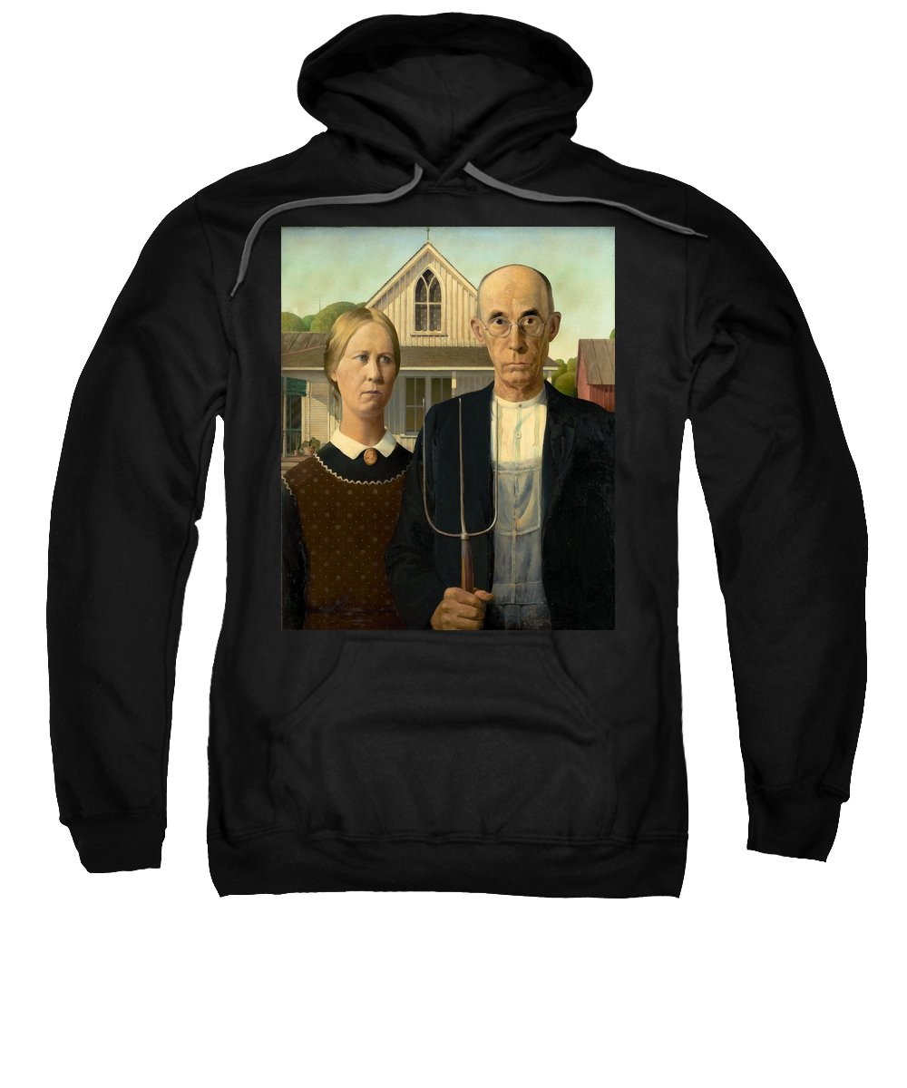 Grant Wood Sweatshirt featuring the painting American Gothic by Grant Wood