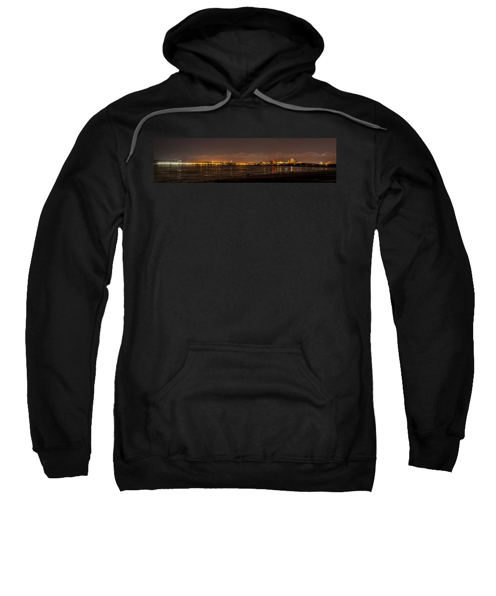 Kyle Lavey Photography Sweatshirt featuring the photograph Anchorage At Night by Kyle Lavey