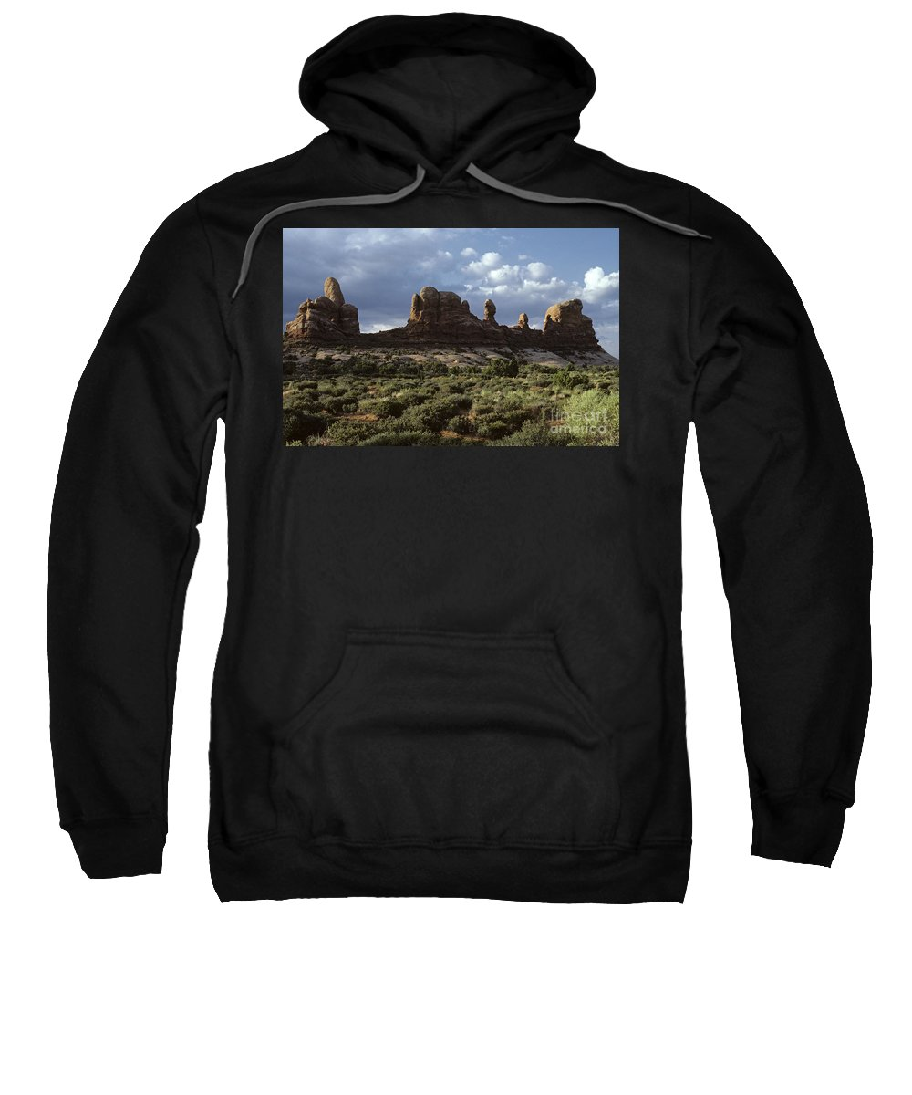 Landscape Sweatshirt featuring the photograph Arches National Park Sunrise Rock Formations by Jim Corwin