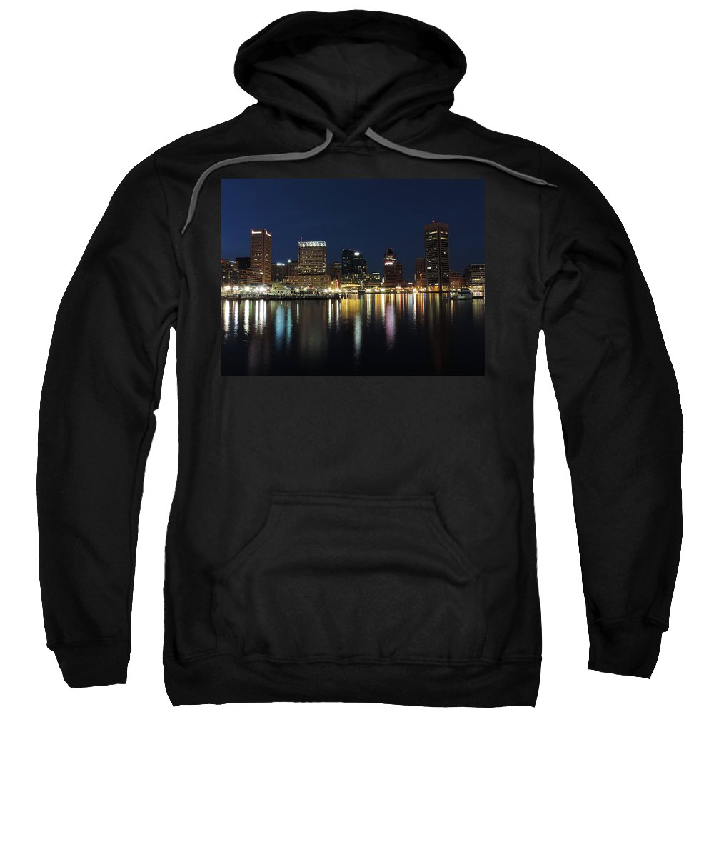 Baltimore Sweatshirt featuring the photograph Baltimore Skyline At Dusk On The Inner Harbor by Cityscape Photography