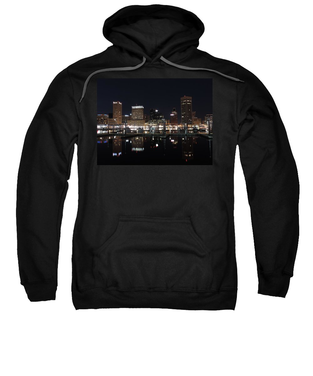 Baltimore Sweatshirt featuring the photograph Baltimore Skyline At Night by Cityscape Photography