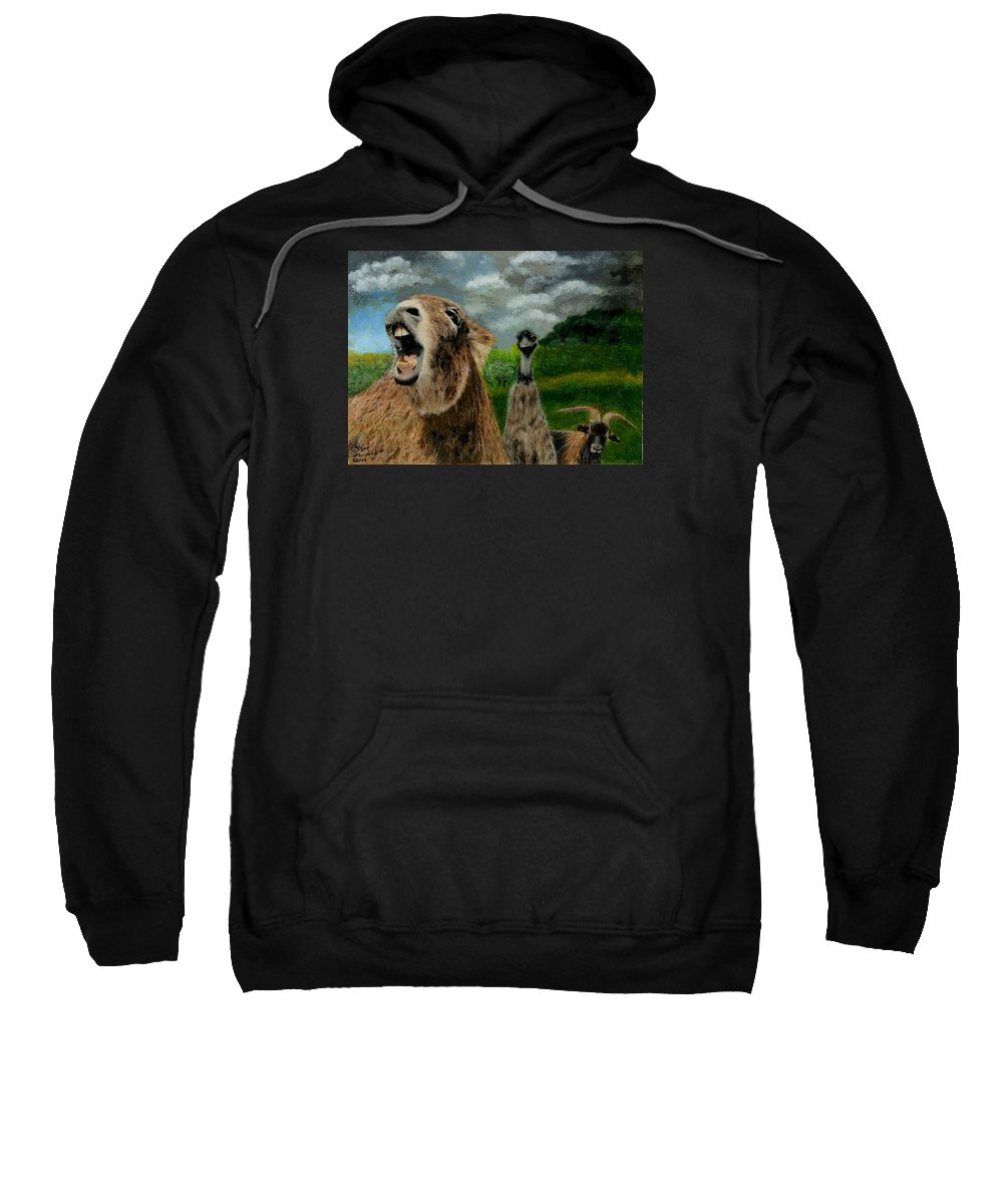 Braying Sweatshirt featuring the painting Braying by Sherryl Lapping