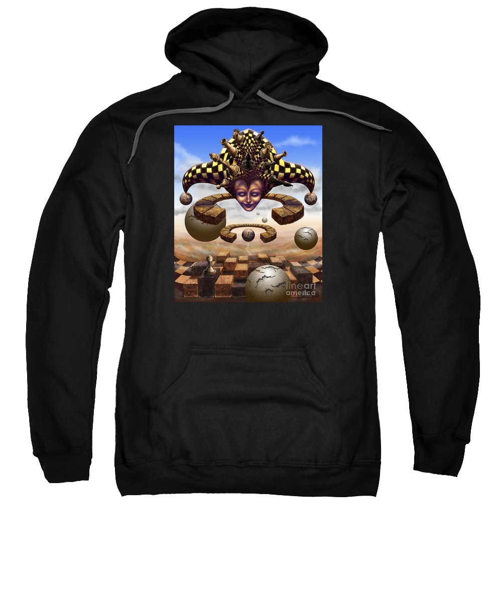 Surrealism Sweatshirt featuring the painting The Chess Master by Serge M