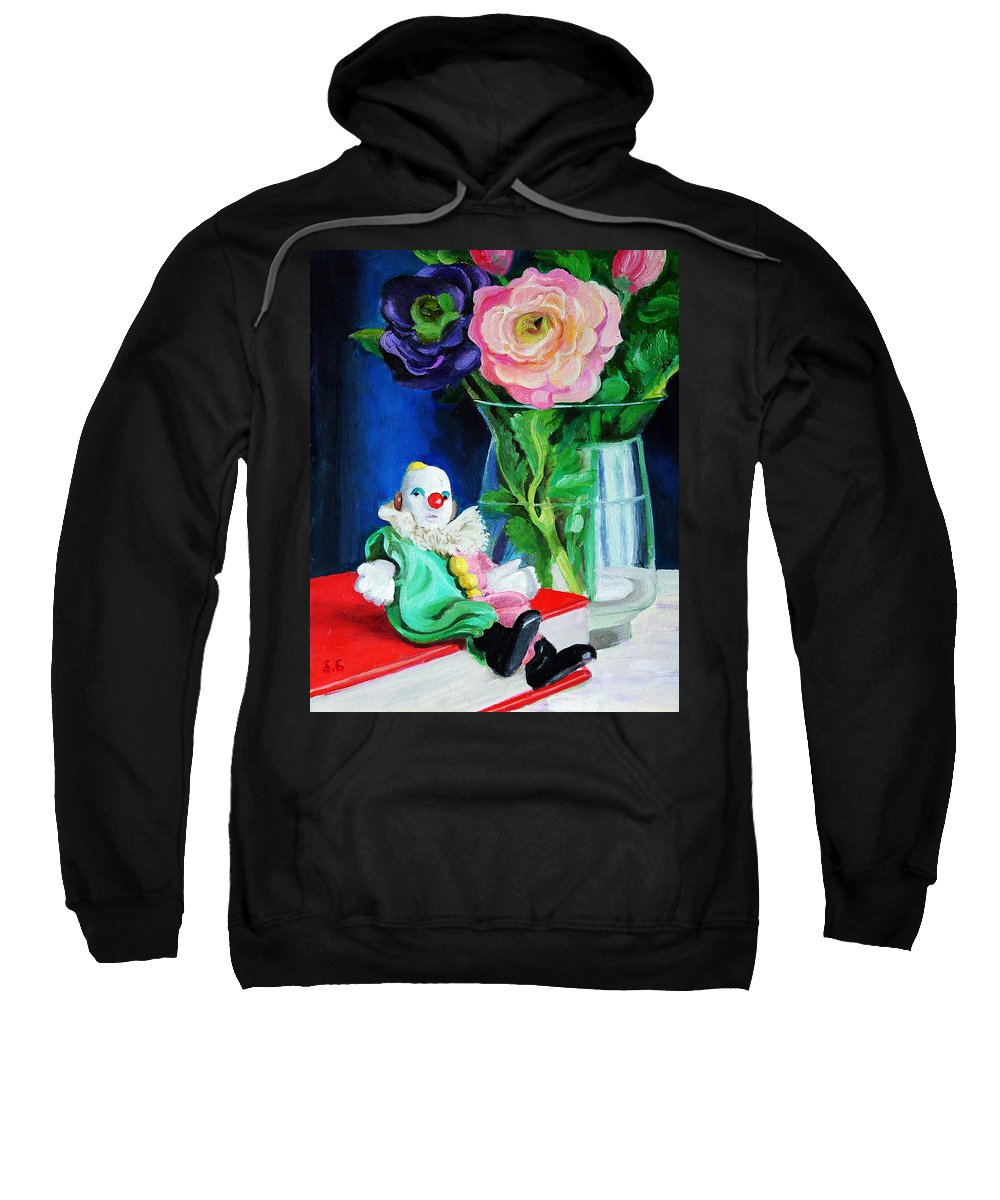 Clown And Flowers Still Life Sweatshirt featuring the painting Clown Book And Flowers by Edward Skallberg
