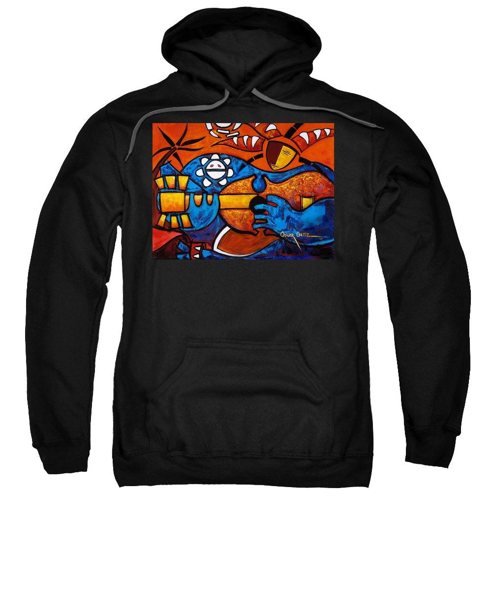 Puerto Rico Sweatshirt featuring the painting Cuatro En Grande by Oscar Ortiz