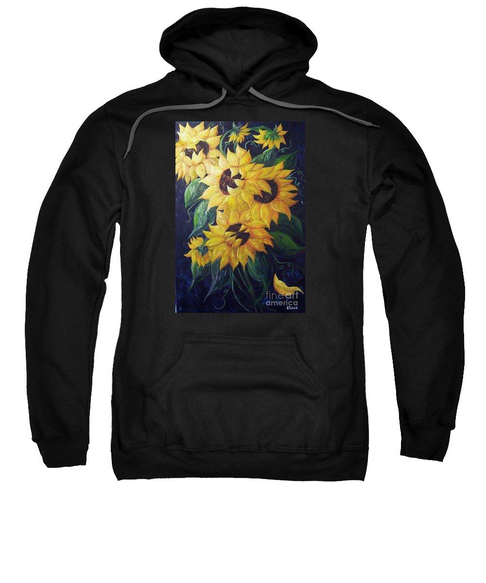 Sunflower Sweatshirt featuring the painting Dancing Sunflowers by Eloise Schneider
