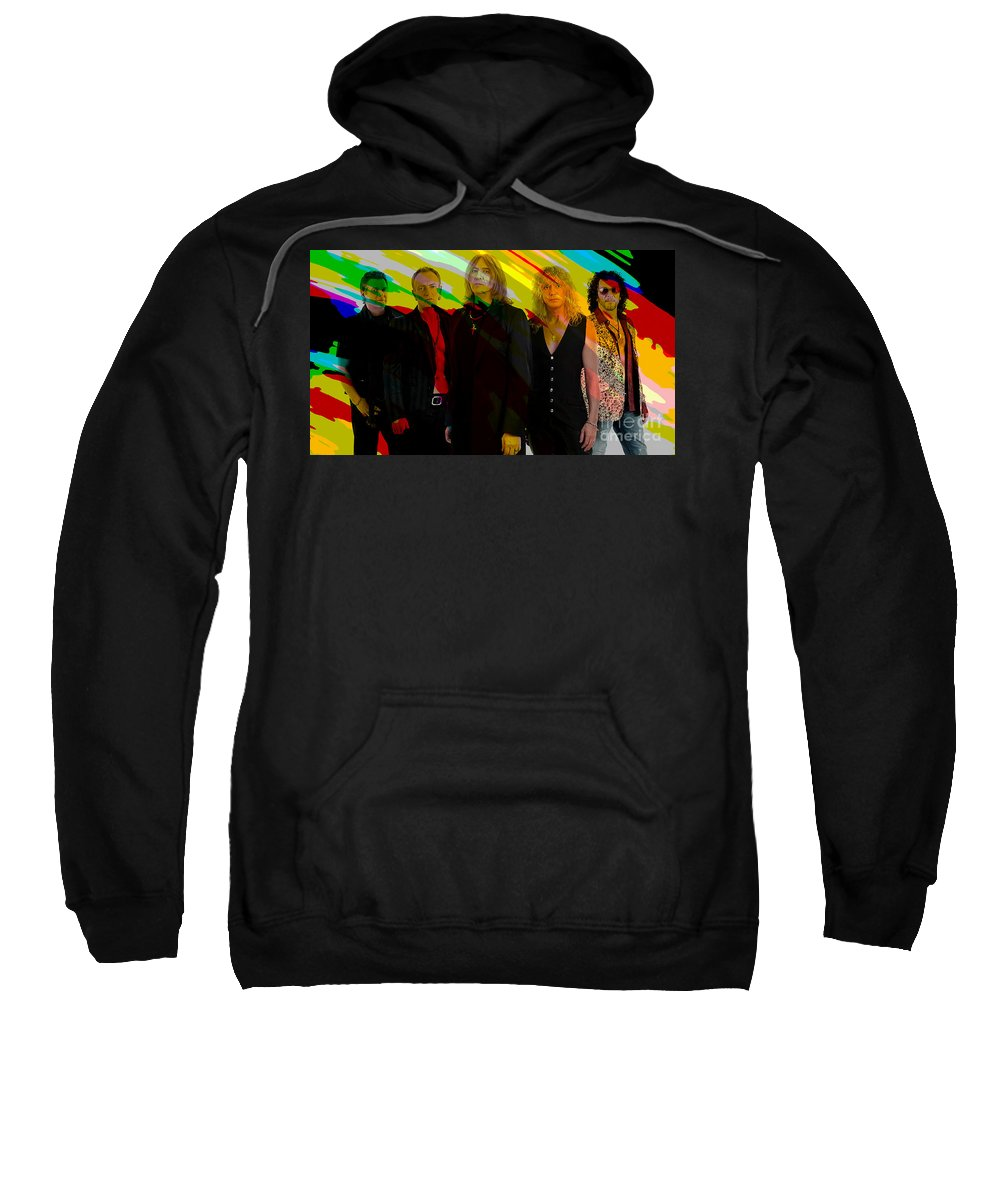 Def Leppard Photographs Mixed Media Sweatshirt featuring the mixed media Def Leppard by Marvin Blaine
