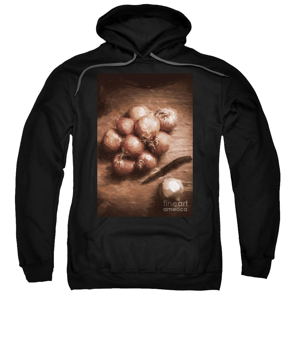 Cooking Sweatshirt featuring the digital art Digital Painting Of Brown Onions On Kitchen Table by Jorgo Photography - Wall Art Gallery