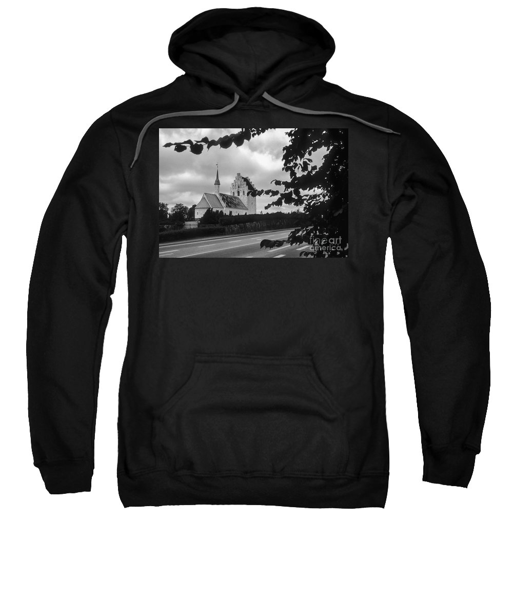 Froslev And Elswhere Denmark Danish Church Churches Building Buildings Structure Structures Steeple Steeples Place Places Of Worship Architecture Landscape Landscapes Black And White Sweatshirt featuring the photograph Froslev And Elswhere 2 by Bob Phillips