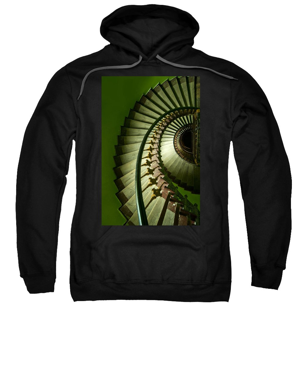 Architecture Spiral Sweatshirt featuring the photograph Green Spiral Staircase by Jaroslaw Blaminsky