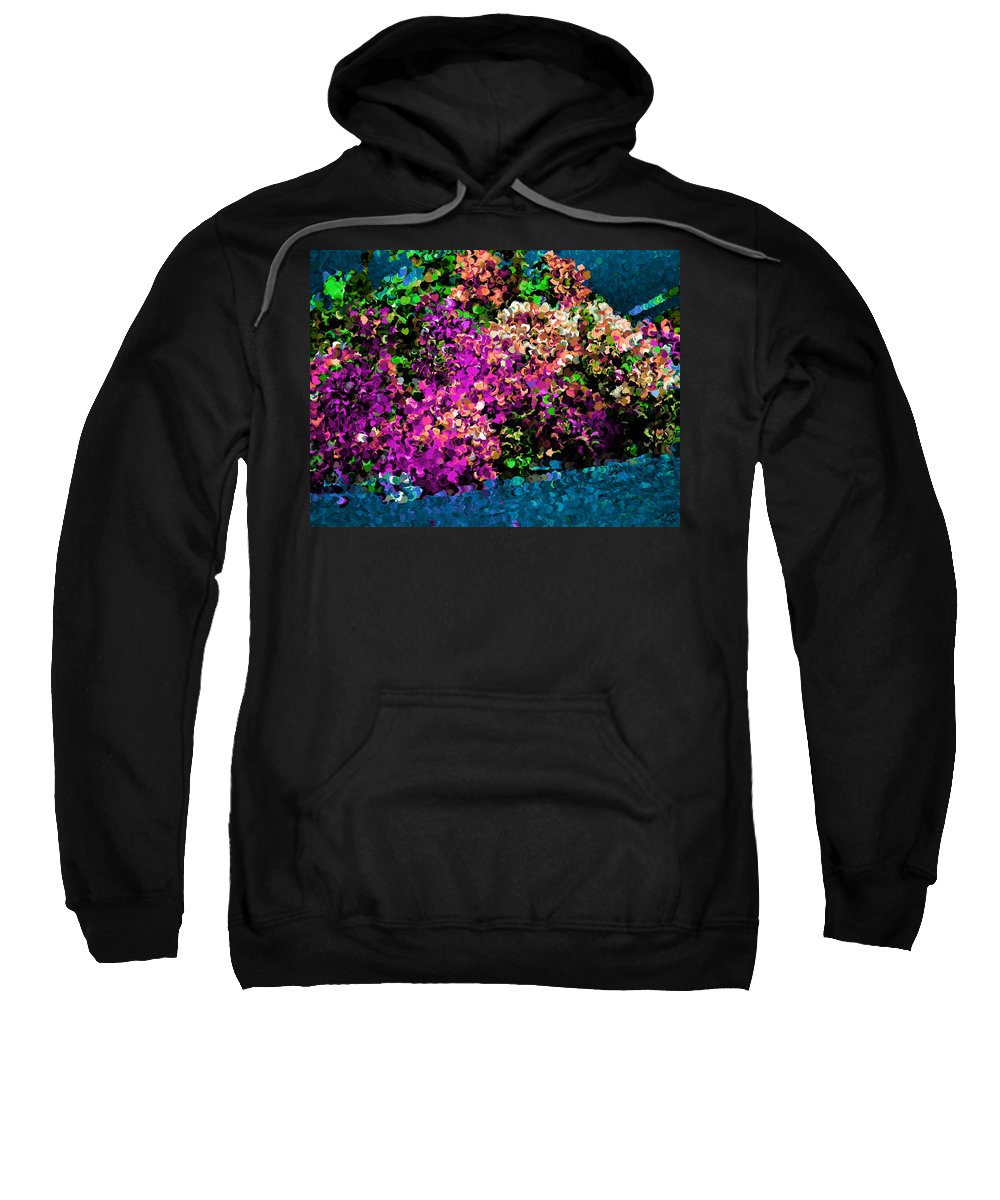 Colorful Sweatshirt featuring the painting I Love Flowers by Bruce Nutting