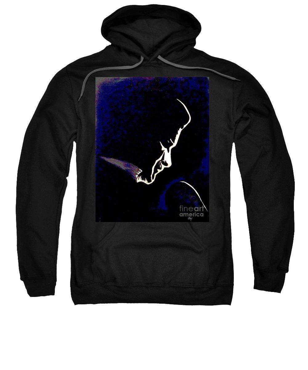 Johnny Cash Sweatshirt featuring the digital art Johnny Cash by Alys Caviness-Gober