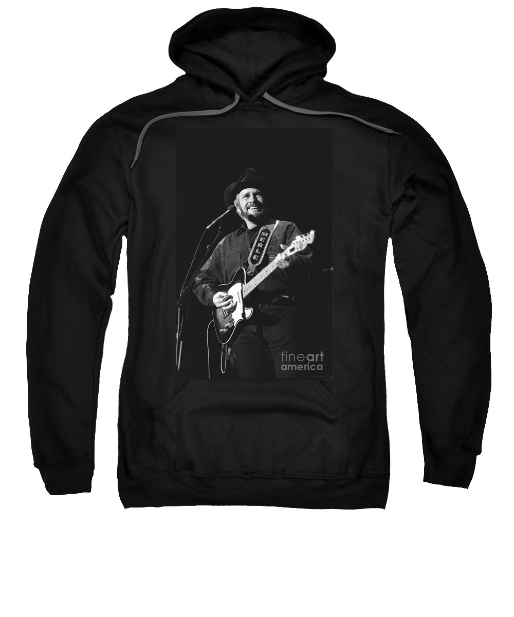 Country Music Sweatshirt featuring the photograph Merle Haggard by Concert Photos