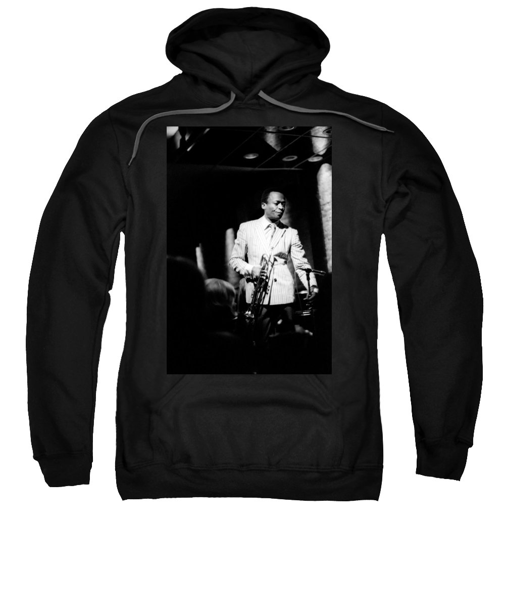 Miles Sweatshirt featuring the photograph Miles Davis At The Penthouse by Dave Coleman