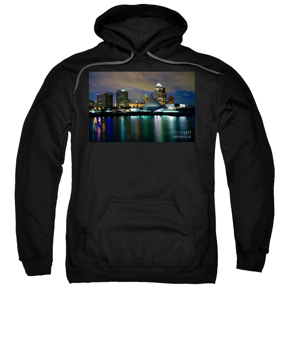 Northwestern Mutual Sweatshirt featuring the photograph Milwaukee Art Museum At Dusk by Bill Cobb