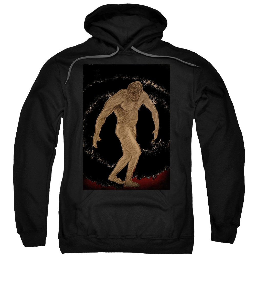 Genio Sweatshirt featuring the mixed media Nude Act by Genio GgXpress