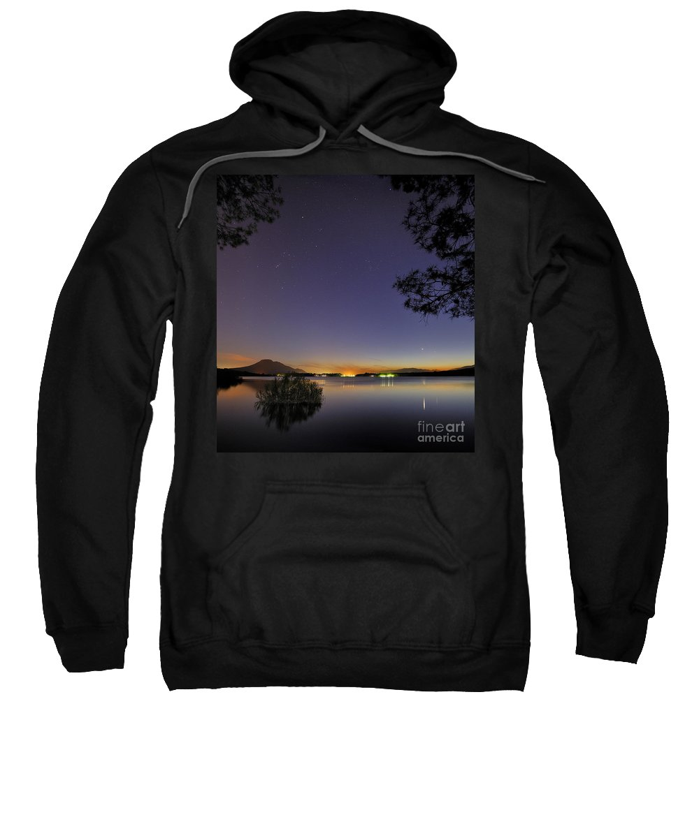 Astrophotography Sweatshirt featuring the photograph Planetary Conjunction Reflections At The Lake Mercury And Venus by Guido Montanes Castillo