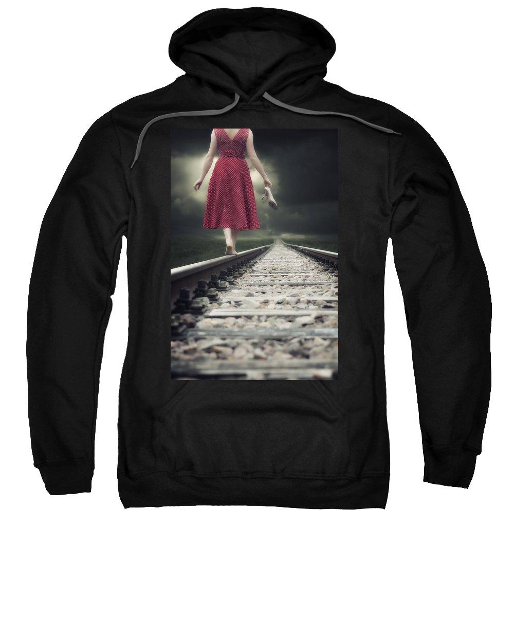 Woman Sweatshirt featuring the photograph Railway Tracks by Joana Kruse