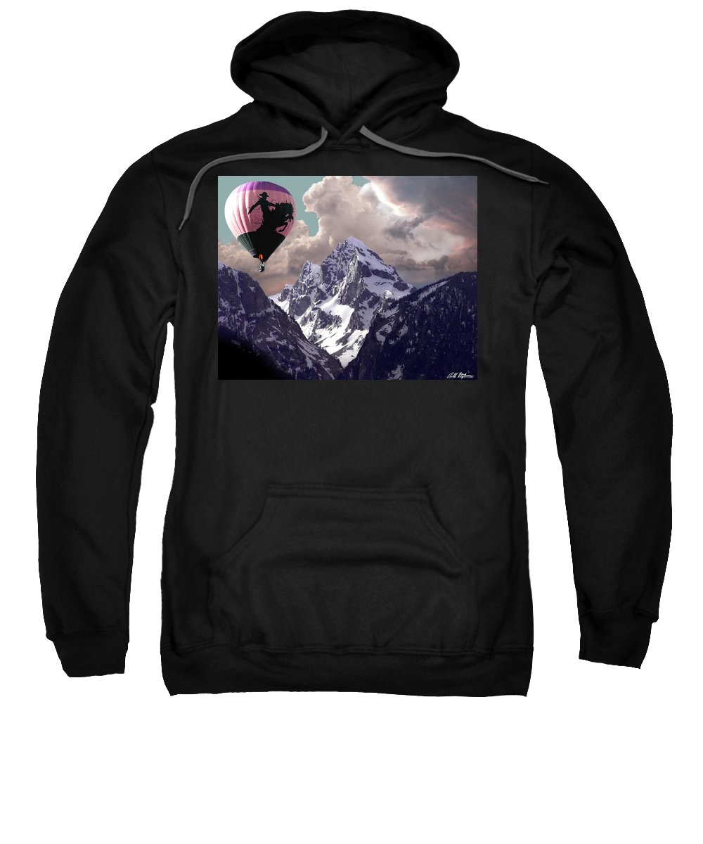 Hot Air Balloons Sweatshirt featuring the digital art Riding The Tetons by Bill Stephens