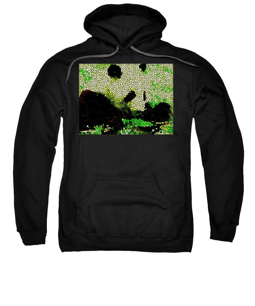 Stained Glass Panda Sweatshirt featuring the painting Stained Glass Panda 2 by Jeelan Clark