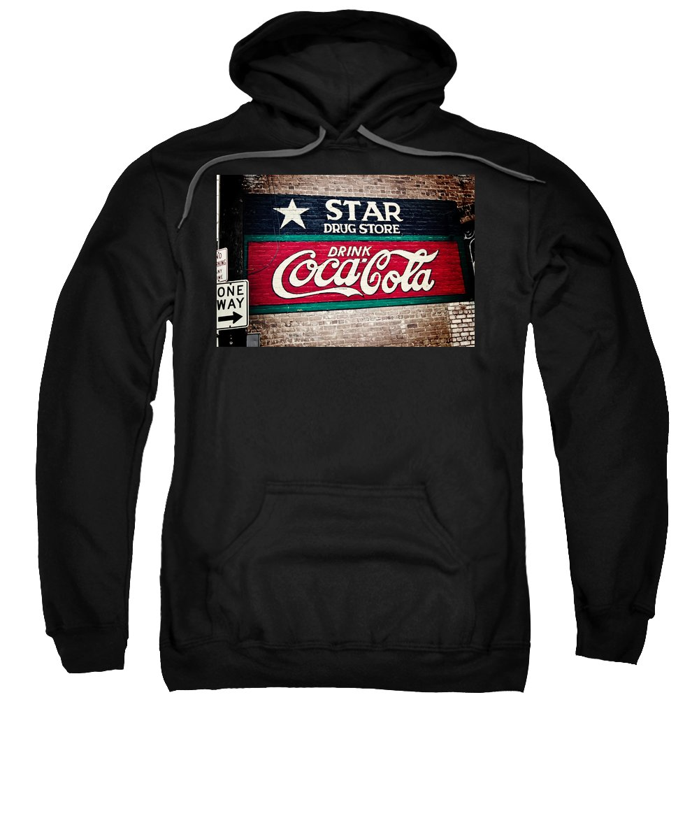 Sign Sweatshirt featuring the photograph Star Drug Store Wall Sign by Scott Pellegrin