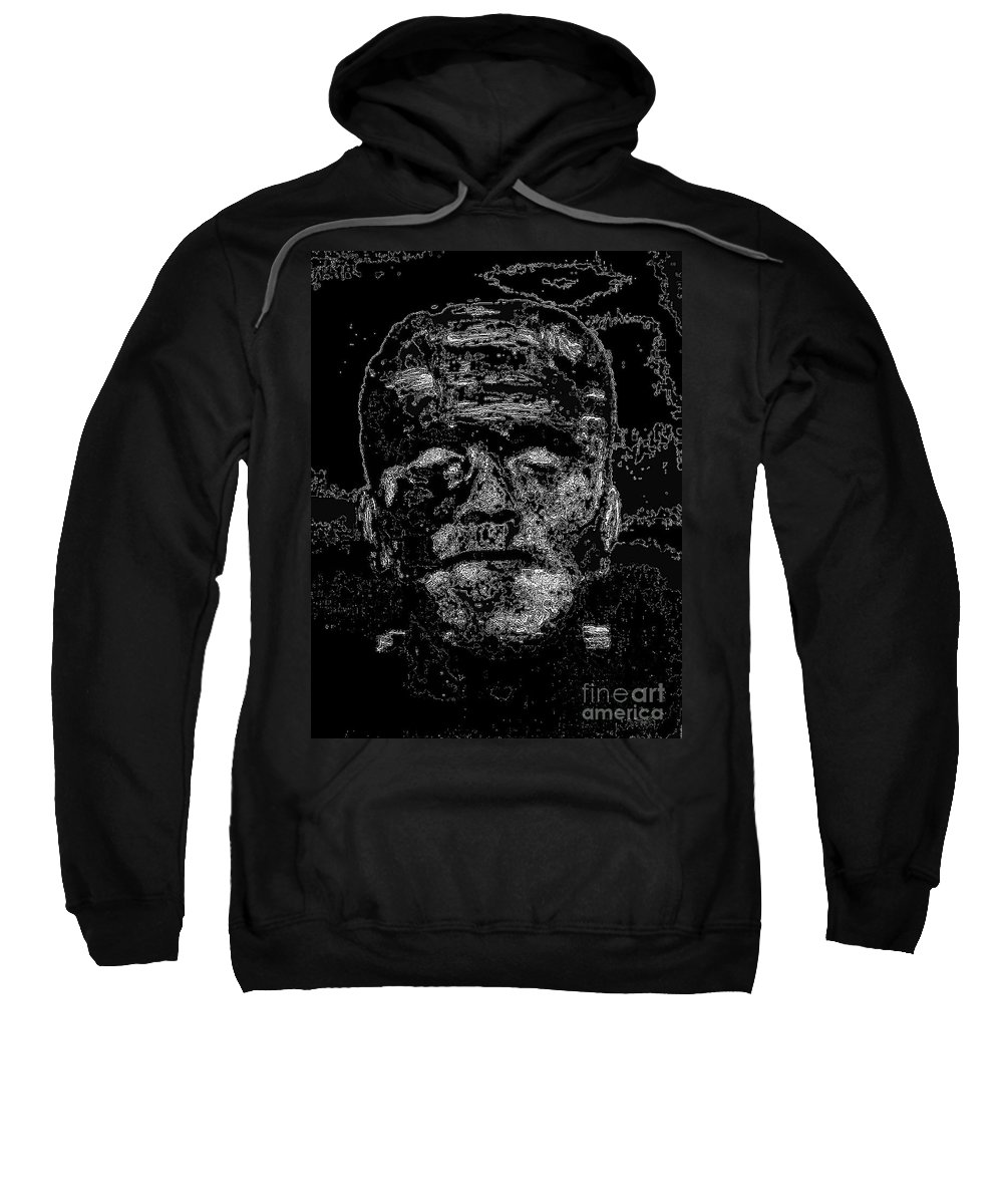 Digital Sweatshirt featuring the digital art The Monster by Alys Caviness-Gober