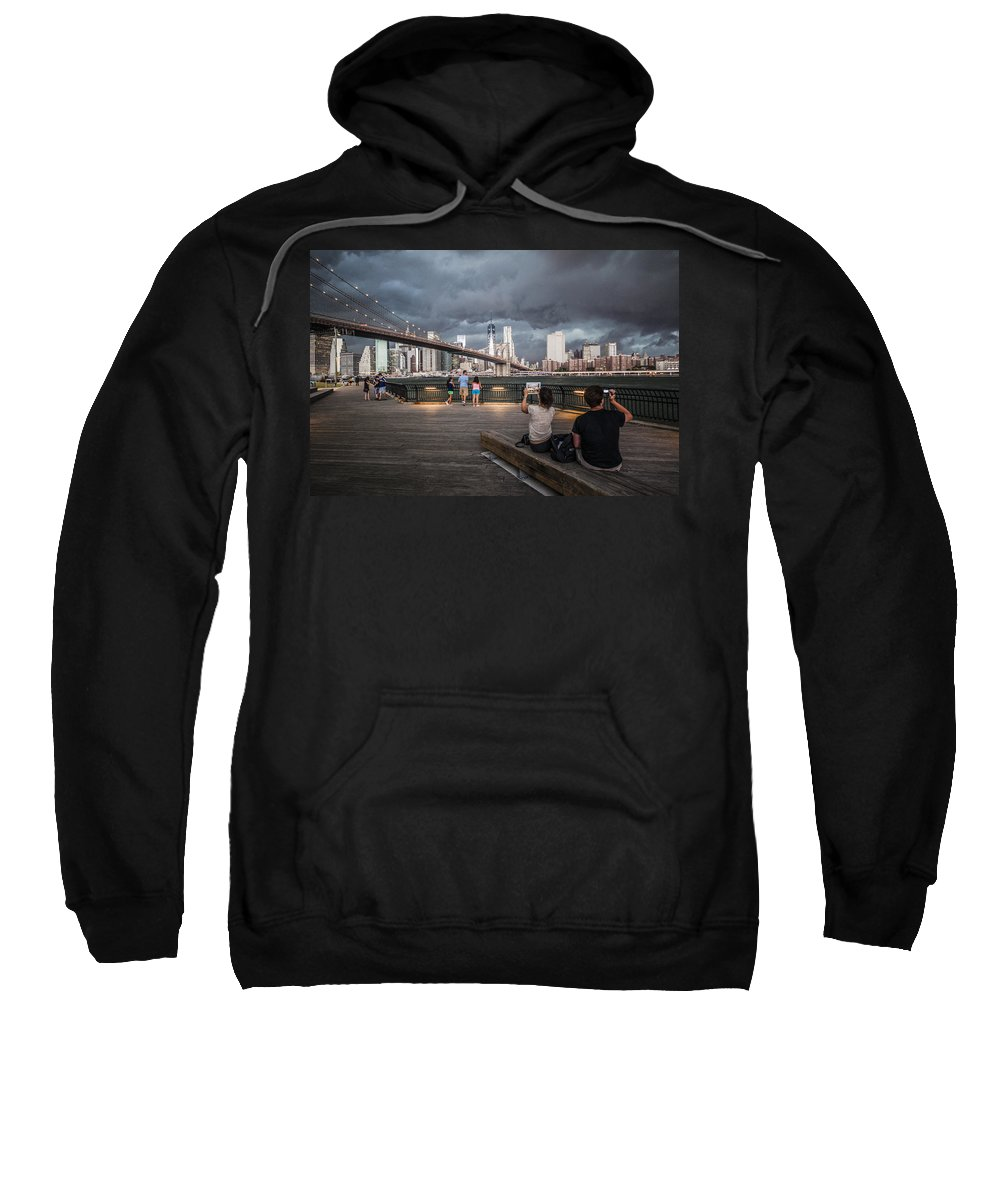 Manhattan Sweatshirt featuring the photograph The Storm Over Manhattan by Alex Potemkin