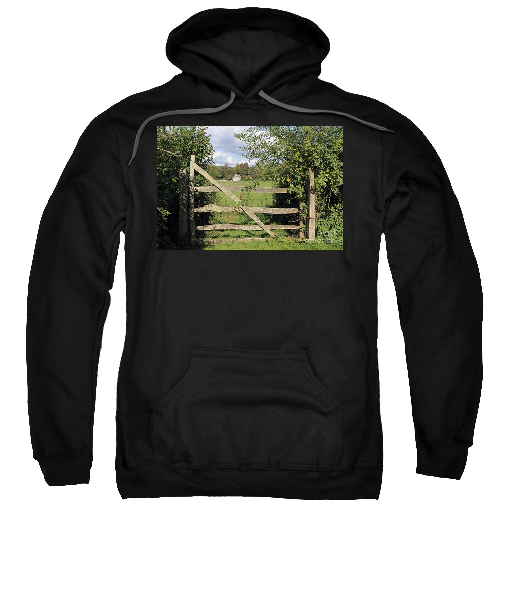 Traditional Cottage Sussex Uk Gate Sweatshirt featuring the photograph Wooden Gate Sussex Uk by Julia Gavin