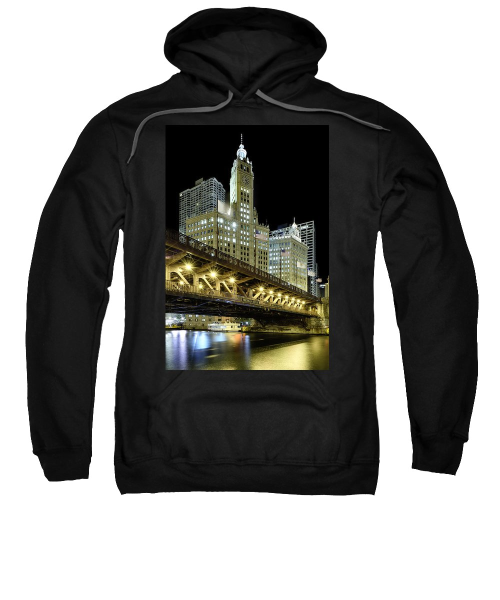Wrigley Sweatshirt featuring the photograph Wrigley Building At Night by Sebastian Musial