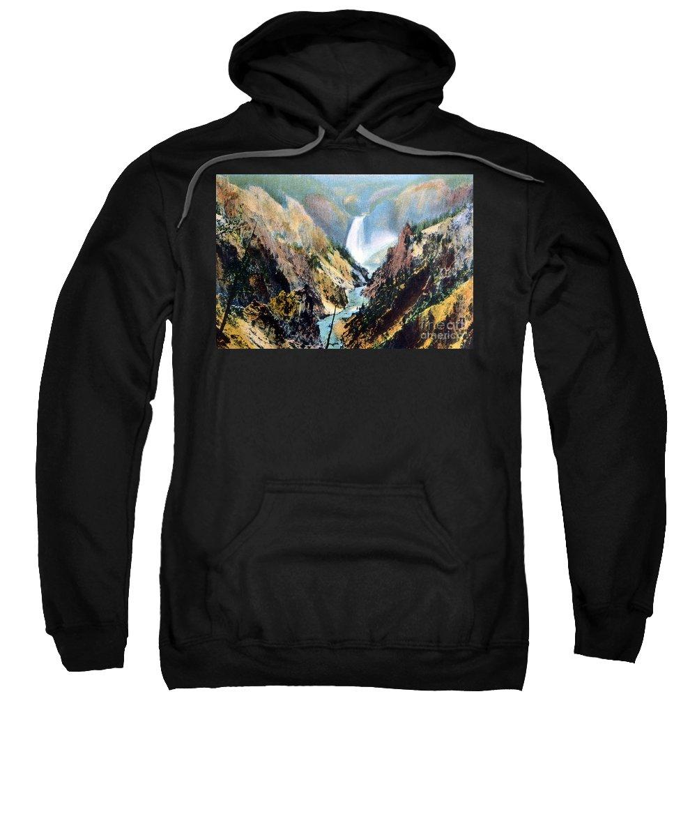 History Sweatshirt featuring the photograph Yellowstone Canyon Yellowstone Np by NPS Photo Frank J Haynes