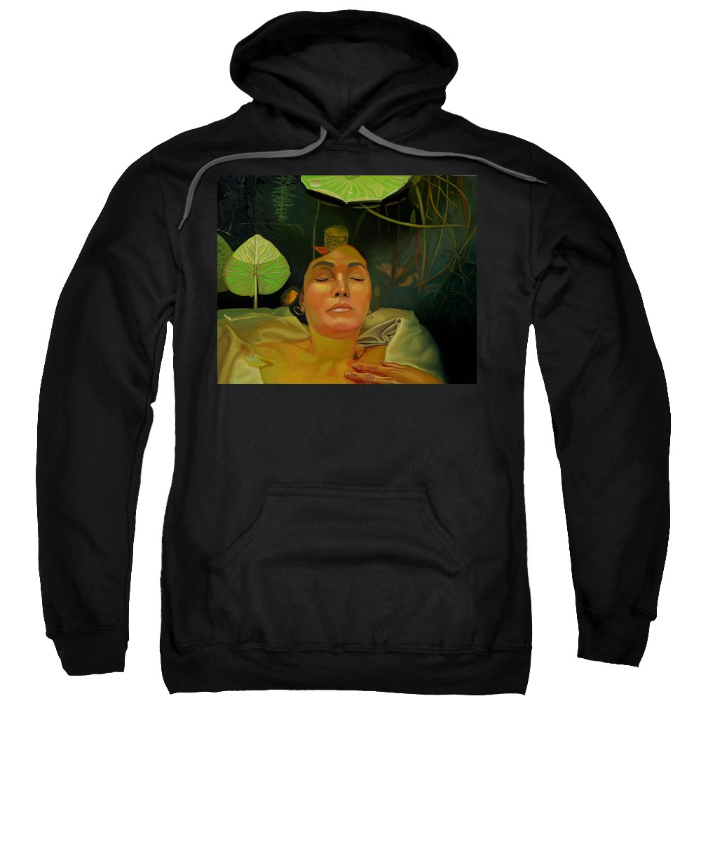 Figurative Sweatshirt featuring the painting 10 30 A.m. by Thu Nguyen