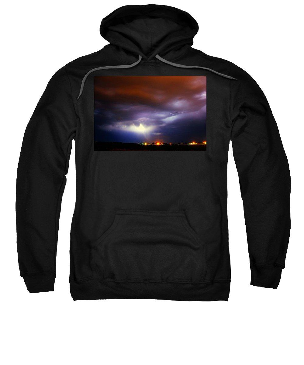 Stormscape Sweatshirt featuring the photograph Nebraska Cells Redevloping Over South Central Nebraska by NebraskaSC