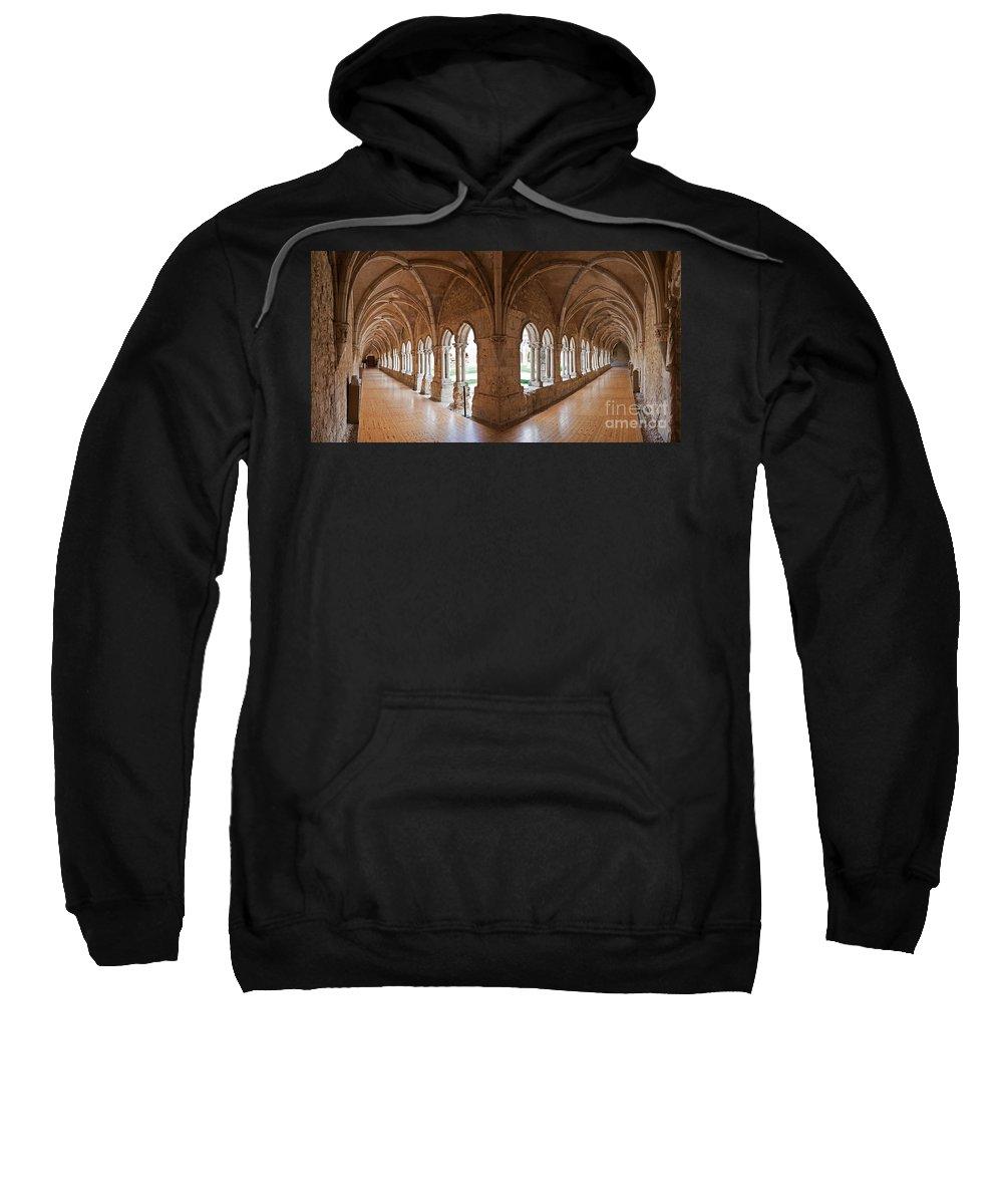 Gothic Sweatshirt featuring the photograph 13th Century Gothic Cloister by Jose Elias - Sofia Pereira