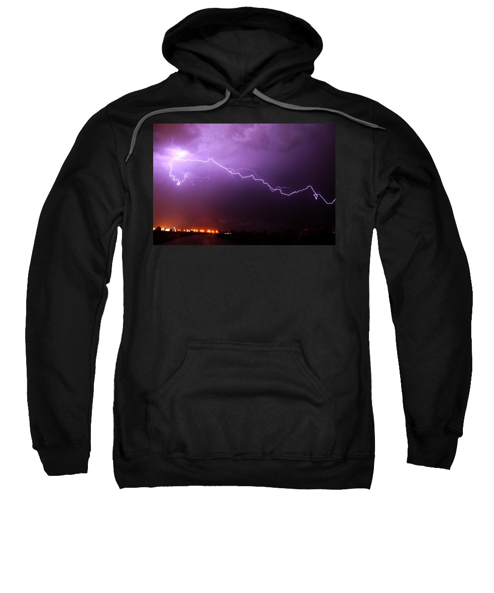June 14 Sweatshirt featuring the photograph Nebraska Cells Redevloping Over South Central Nebraska by NebraskaSC