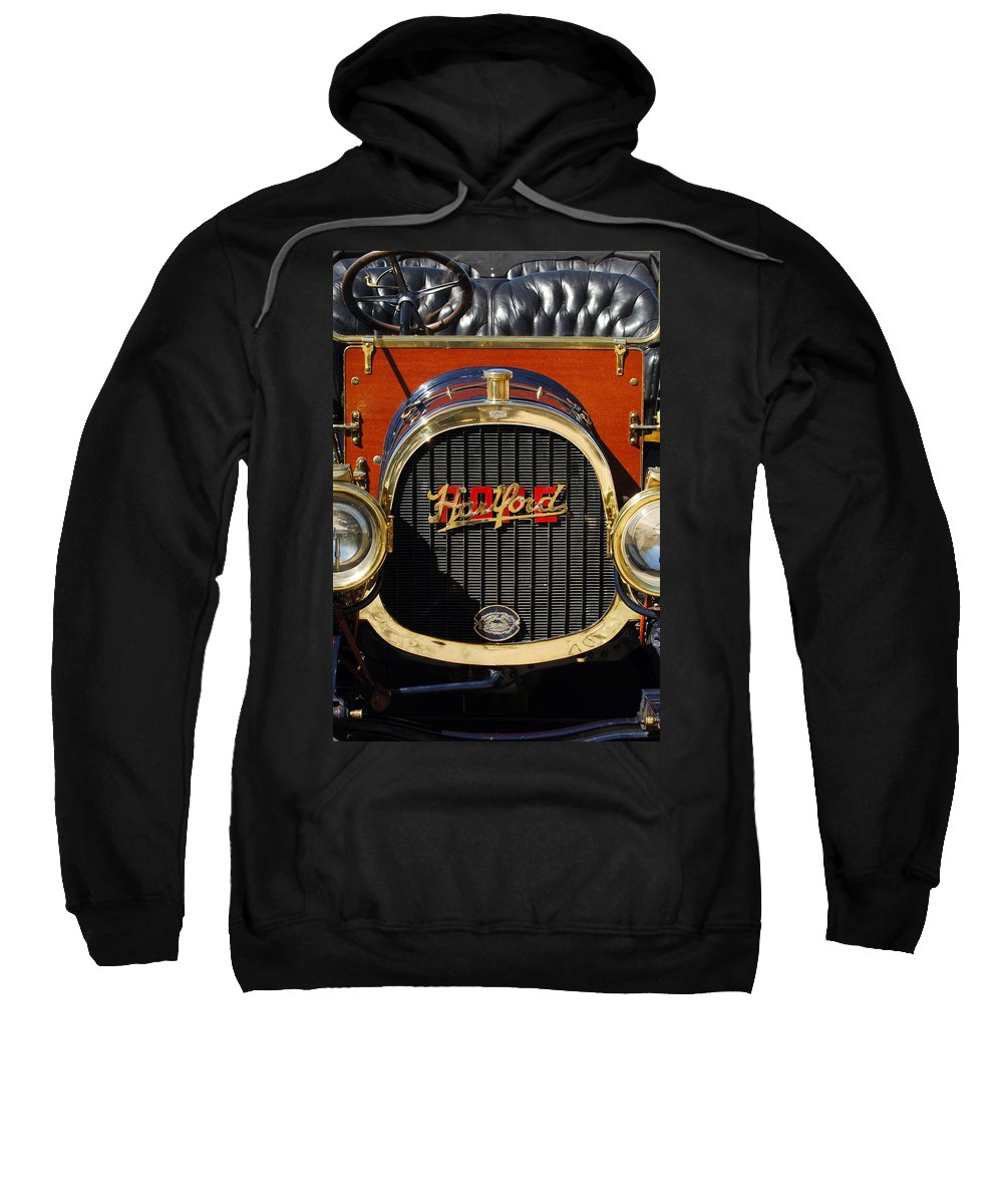 1910 Pope Hartford Model T Grille Emblem Sweatshirt featuring the photograph 1910 Pope Hartford Model T Grille Emblem by Jill Reger