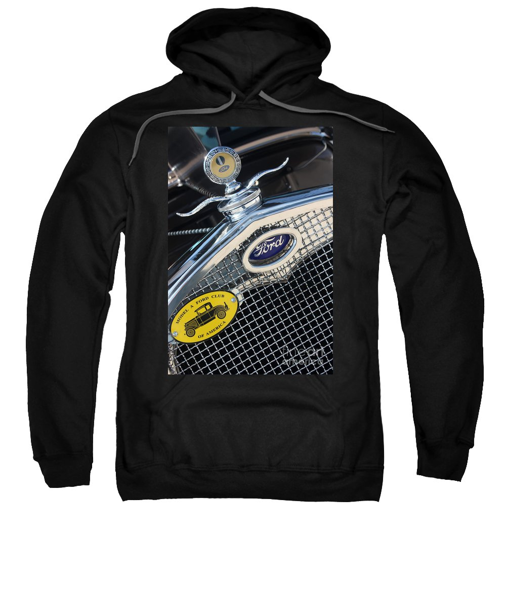 1930 Ford Model A Sweatshirt featuring the photograph 1930 Ford Model A - Radiator N Grill - 7479 by Gary Gingrich Galleries