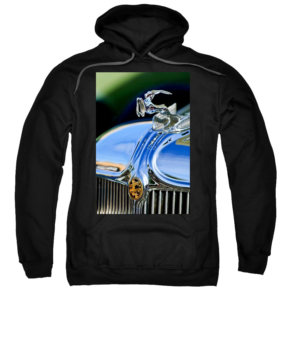 1933 Chrysler Imperial Sweatshirt featuring the photograph 1933 Chrysler Imperial Hood Ornament 3 by Jill Reger