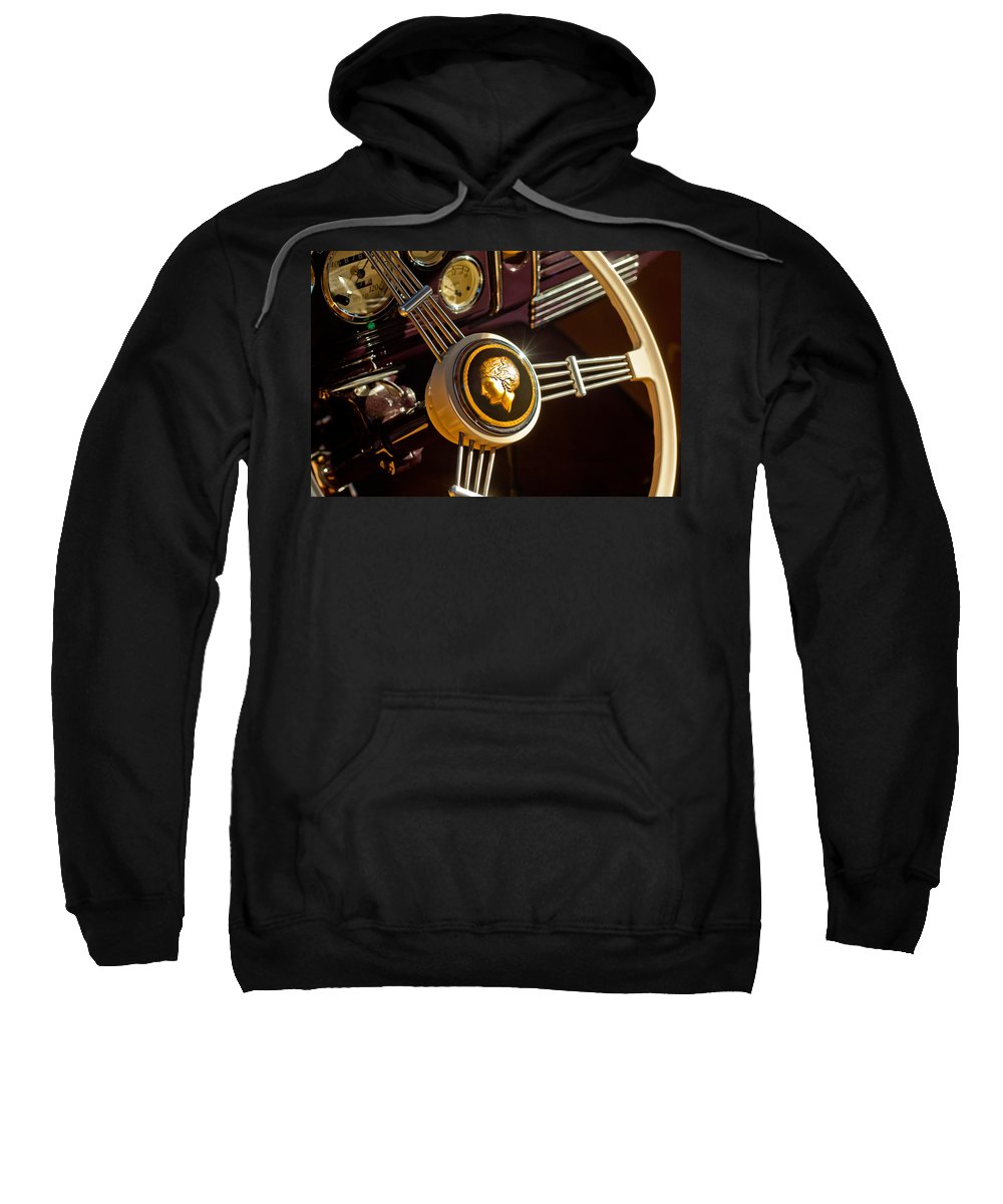 1939 Ford Standard Woody Sweatshirt featuring the photograph 1939 Ford Standard Woody Steering Wheel by Jill Reger