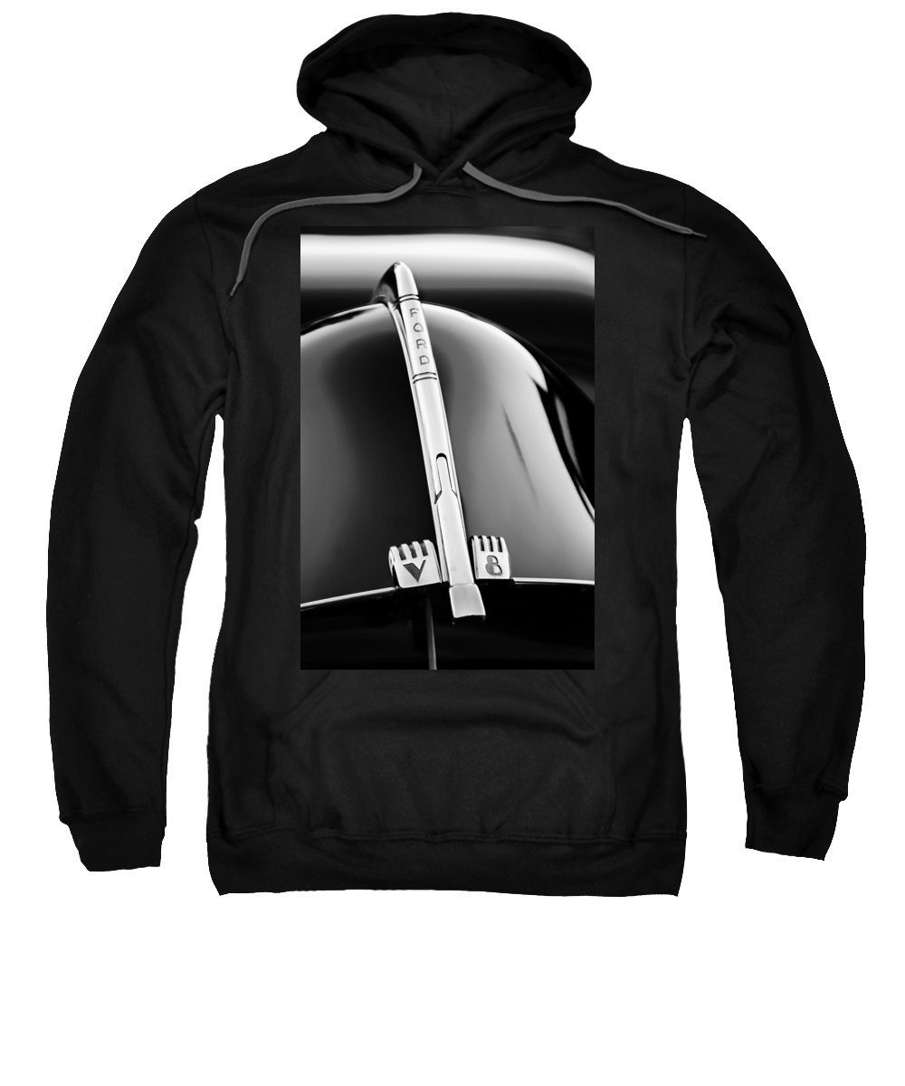 1940 Ford V8 Hood Ornament Sweatshirt featuring the photograph 1940 Ford V8 Hood Ornament -323bw by Jill Reger