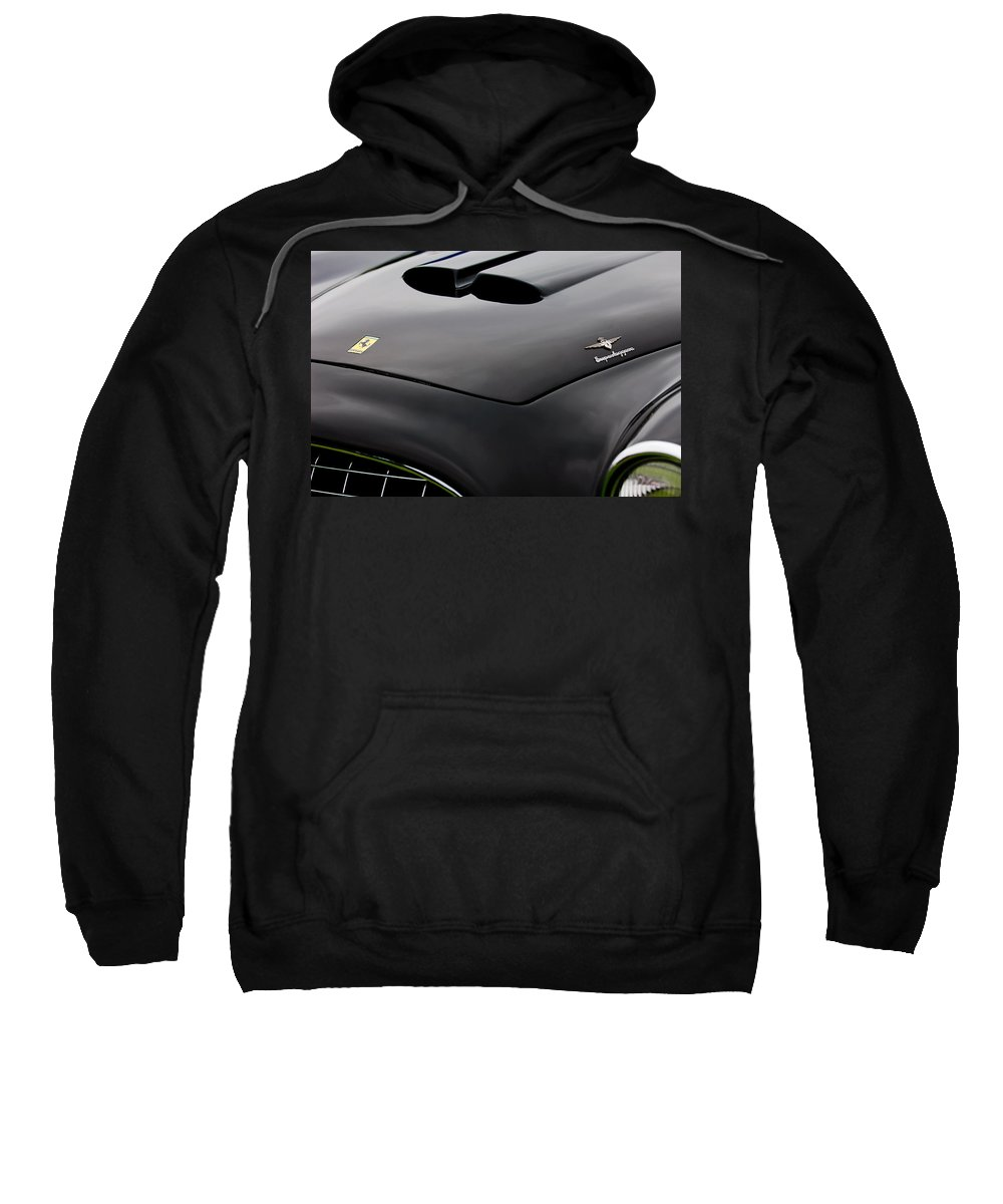 1952 Ferrari 212 225 Barchetta Sweatshirt featuring the photograph 1952 Ferrari 212 225 Barchetta Hood Emblems by Jill Reger