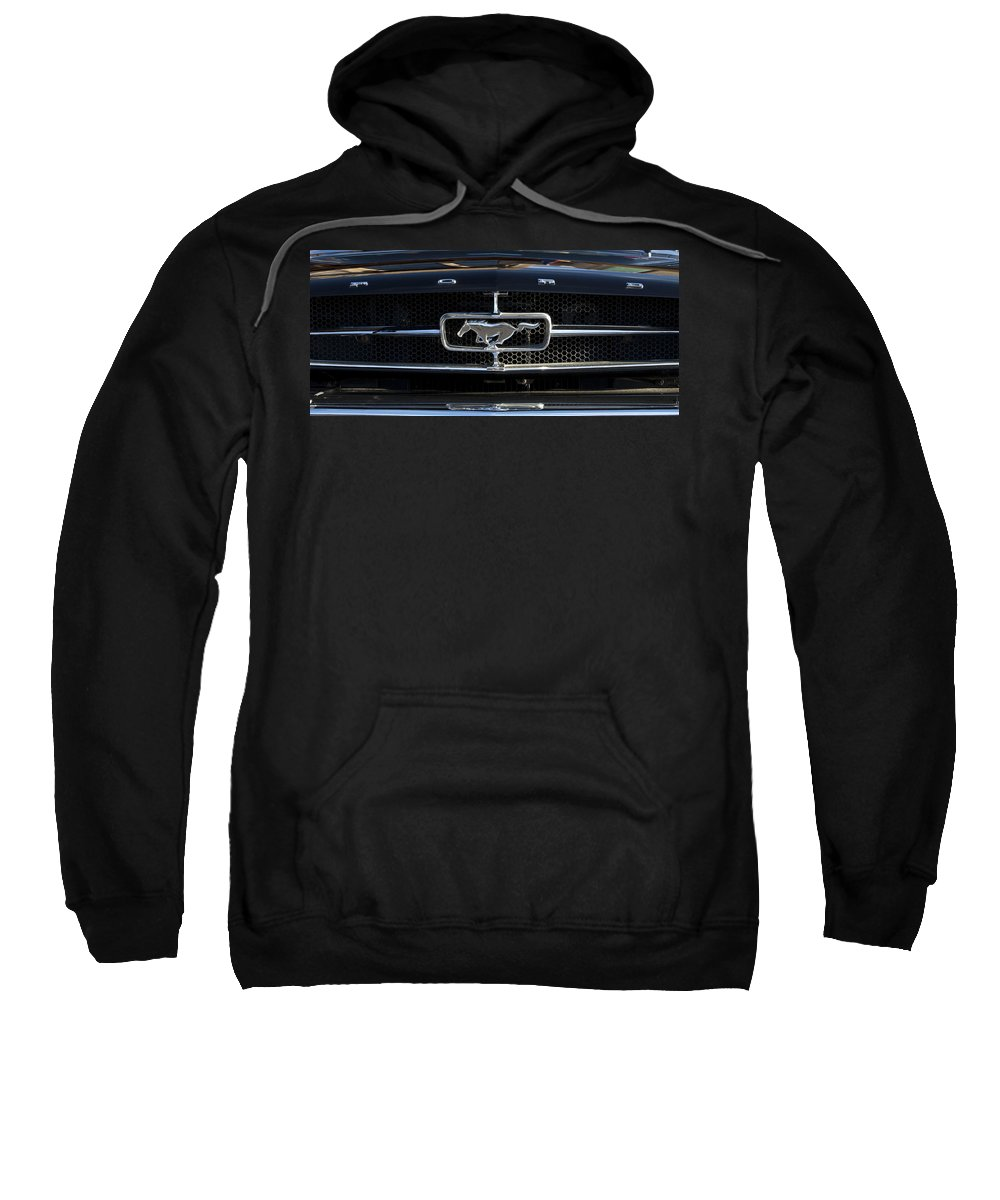 1965 Shelby Prototype Ford Mustang Emblem 1965 Ford Mustang Emblem Sweatshirt featuring the photograph 1965 Shelby Prototype Ford Mustang Hood Ornament by Jill Reger