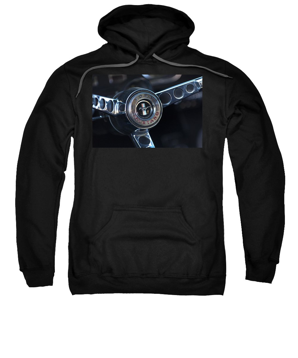 1965 Shelby Prototype Ford Mustang Steering Wheel Sweatshirt featuring the photograph 1965 Shelby Prototype Ford Mustang Steering Wheel Emblem -0356c by Jill Reger