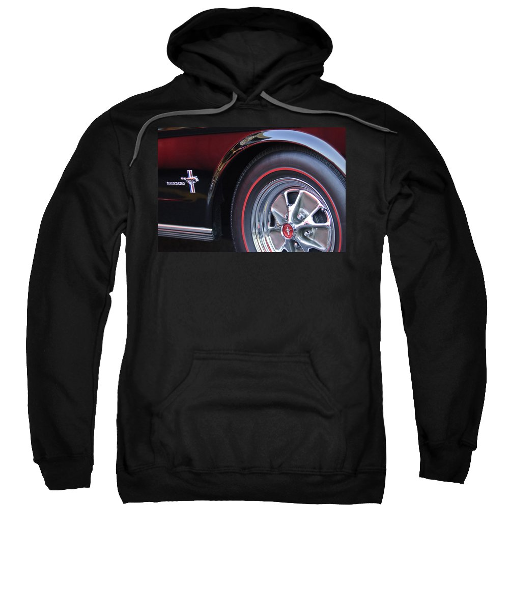 1965 Shelby Prototype Ford Mustang Sweatshirt featuring the photograph 1965 Shelby Prototype Ford Mustang Wheel And Emblem by Jill Reger