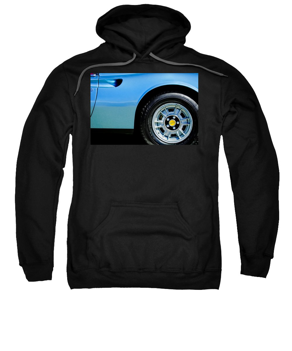 1974 Ferrari Dino Targa Gts Wheel Emblem Sweatshirt featuring the photograph 1974 Ferrari Dino Targa Gts Wheel Emblem by Jill Reger