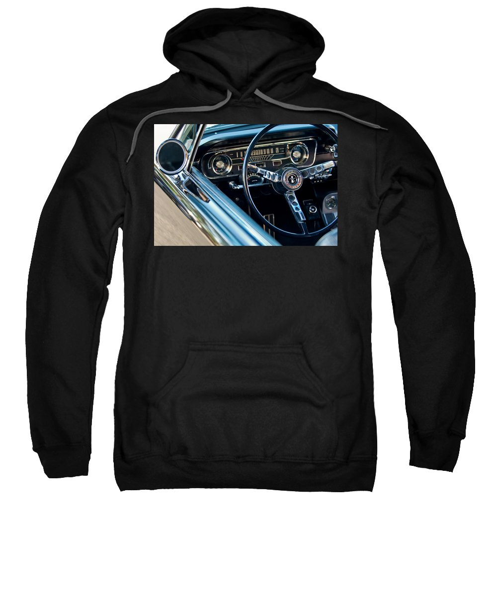 1965 Shelby Prototype Ford Mustang Steering Wheel Sweatshirt featuring the photograph 1965 Shelby Prototype Ford Mustang Steering Wheel Emblem by Jill Reger