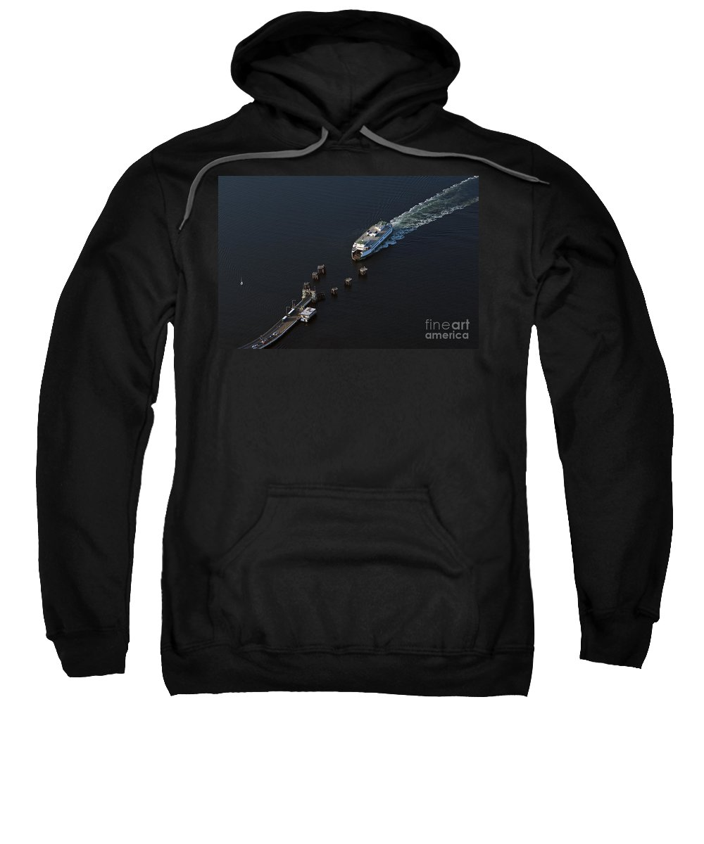 North America Sweatshirt featuring the photograph Aerial View Of Passenger Ferry Boat Going To Southworth Puget So by Jim Corwin